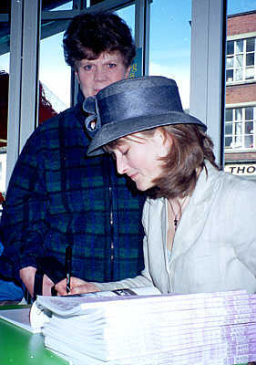 Penny signing her book STOCKPORT HATTING